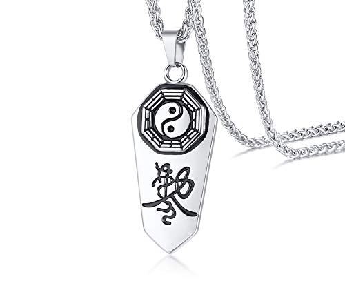 VNOX Two-Tone Stainless Steel Taoist Tai Chi Eight Trigrams Yin Yang Talisman Pendant Necklace for Men,Religious Jewellery