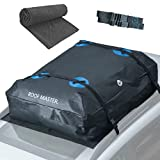 P.I. AUTO STORE Rooftop Cargo Carrier - 16 Cubic Foot, Waterproof Car Roof Bag and Protective Mat - Storage Carriers for Vehicles with or Without Roof Racks