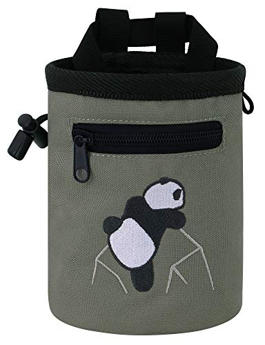 AMC Rock Climbing Panda Compact Chalk Bag with Adjustable Belt, Gray