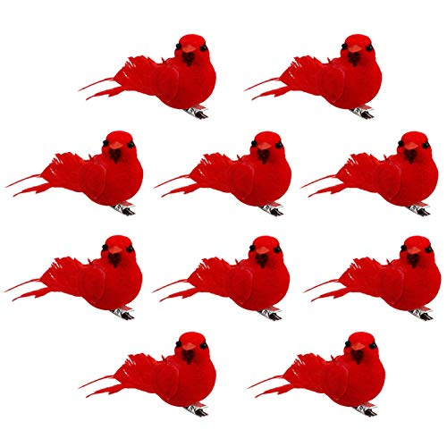 Elibeauty 10pcs Artificial Red Clip-on Cardinals Feathered Birds Christmas Ornaments(type A)