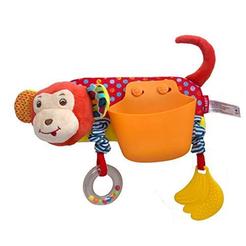 Fine Baby Stroller Storage Pocket,Cartoon Animal Storage Pocket Cartoon Animal Crossbar Pendant Baby Bed Plush Toy (A)