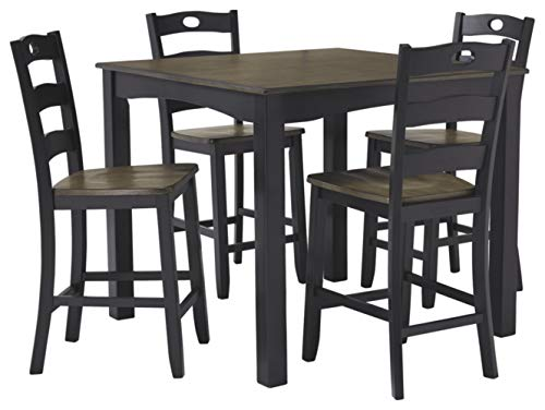 Signature Design by Ashley Froshburg Counter Height Dining Room Table and Bar Stools (Set of 5), Grayish Brown/Black