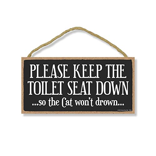 Honey Dew Gifts Cat Decor, Please Keep The Toilet Seat Down 5 inch by 10 inch Hanging Wall Art, Decorative Wood Sign Home Decor