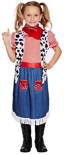 HENBRANDT Vaqueros Vaquera Disfraz Niña Lejano Oeste Día del Libro Western Infantil Niño Disfraz - Medium Ages 7-9 Years