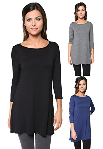 Free to Live 3 Pack: Loose Fit Elbow Sleeve Tunics (Black, Charcoal, Navy), XL