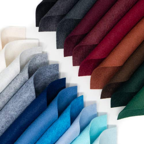21 Felt Sheets - 6X12 inch Winter Colors Collection - Made in USA - Merino Wool Blend Felt
