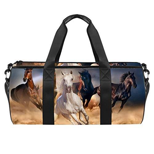 HANDIYA Sporttasche, klein, 45,7 cm, für Damen und Herren, Reisetasche, Reisetasche, Trainingstasche mit Nasstasche, 3D-Reitsport