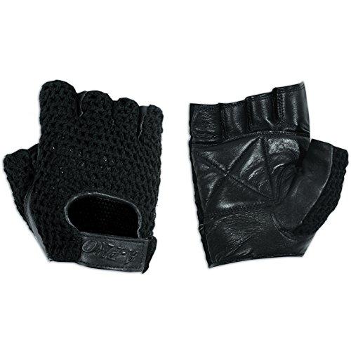 A-Pro - Guantes sin Dedos para Motero (Piel de Vacuno, Talla M), Color Negro