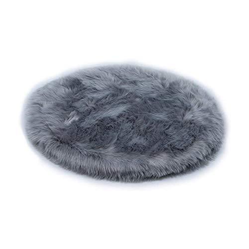 LOKKSI Alfombra de piel sintética de piel de oveja redonda gris mullida, alfombra rosa para dormitorio de niños, alfombra redonda gris para niños (45 x 45 cm)