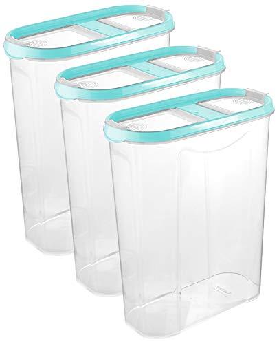 Schüttdosen für Müsli - Cornflakes - 3er Set - Vorratsdosen für Lebensmittel - Frischhaltedosen - Streudosen - 2 Aufklappbare Deckel - stapelbar - Spülmaschinenegeeignet (3, 2,8L - Babyblau)