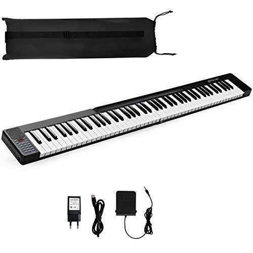 COSTWAY 88 Tasti di Pianoforte Digitale, Tastiera Pianoforte Elettrica, con Altoparlanti, Funzione Bluetooth e MIDI, Ideale per Principianti (Nero)