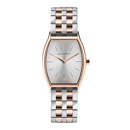 PAUL HEWITT Armbanduhr Damen Modern Edge Line Silver Sunray - Damen Uhr (Rosegold), Damenuhr Edelstahlarmband in Rosegold und Silber, silbernes Ziffernblatt