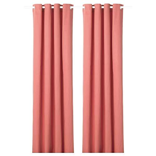 Juego de 2 cortinas de 145 x 300 cm, color marrón claro y rojo, opacas, con ojales, de Ikea Merete, pack doble con ojales, 2 unidades de cortina con ojales