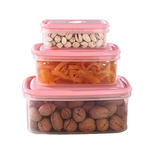 Airtight Food Storage Container Set, Meal Prep Containers Clear Plastic Canisters, Kitchen & Pantry Organization Dry Food Containers,Pink
