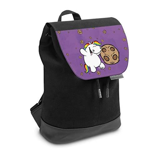 Rucksack mit Lasche 30 cm x 20 cm Daypack für Damen & Herren Tasche mit Design Kekse Pummeleinhorn Partner Motive
