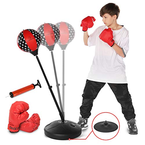 clould fitness Punching Bag Set for Kids-Adjustable Stand with Stronger Spring, and Boxing Gloves,Boxing Training Toy Set for Age 3 4 5 6 7 8 and Up Years Old Boys Girls