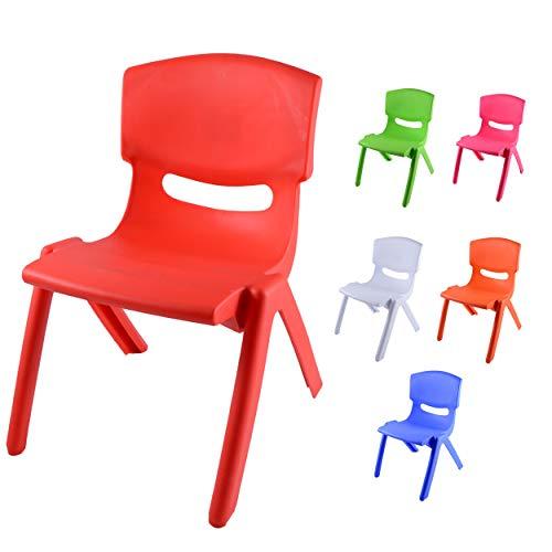 Sedia Colorata per Bambini, Modello Kiki, Ideale per arredo Asilo Nido in Quanto Sedia montessoriana, sediolina Bambini Comoda ed ergonomica, 50 x 36 x 33 cm (Rosso, 1)
