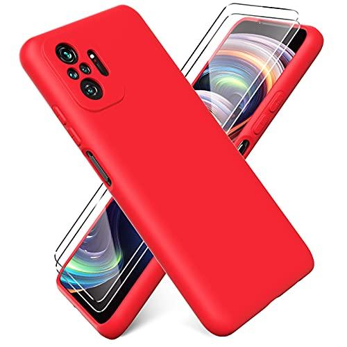 Ikziwreo - Funda para Xiaomi Redmi Note 10 Pro + [2 Pack] Protector Pantalla, Carcasa de Silicona Líquida Gel Ultra Suave Funda con tapete de Microfibra Anti-Rasguño - Rojo