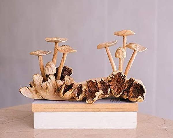 玩具模型木制蘑菇雕塑森林自然手工雕刻雕像木雕独特公仔乡村家居装饰手工艺术情侣礼物