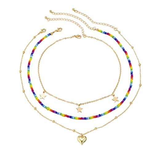 Collar de múltiples Capas Arco Iris Bead Star Gargantilla Collar Joyería Ajustable para Mujeres niñas, Collar con Cuentas en Capas