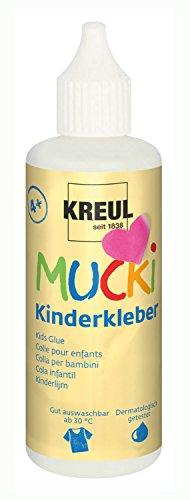 Kreul 24382 - Mucki Kinderkleber, wasserlöslich, lösemittelfrei, PVC-frei, geruchlos, universell einsetzbar, parabenfrei, glutenfrei, laktosefrei, vegan, auswaschbar, 80 ml Flasche, glasklar