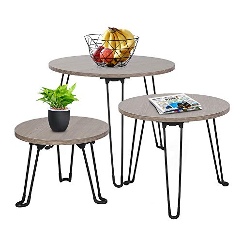 GREENSEN Set of 3 Nest of Round Tables Nesting Table Set Coffee Tables End Tables Wood Table Side Tables Round Sofa Tables Nightstand Dining Table with Metal Legs for Living Room Bedroom Balcony