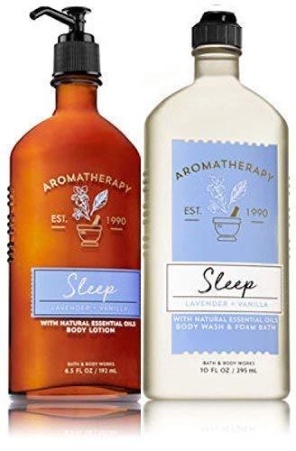 Bath & Body Works Aromatherapy Sleep - Lavender + Vanilla Body Lotion, 6.5 Fl Oz + Body Wash & Foam Bath, 10 Fl Oz