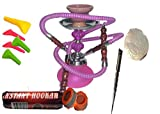2 Hose Hookah Neon 12' Height, Cute Shape Comes with Instant Charcoal roll, 5 Mouth Tips, 25 foil Paper (Purple NO Flavor, Style 1)