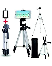 Case Plus Adjustable Aluminium Alloy Tripod Stand Holder for Mobile Phones & Camera, 360 mm -1050 mm, 1/4 inch Screw + Mobile Holder Bracket (Aluminium Alloy Tripod Stand)