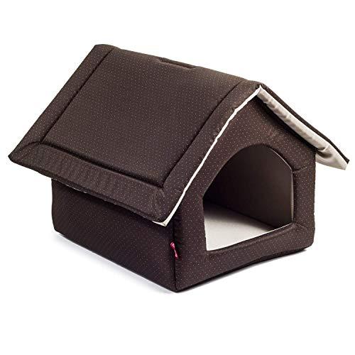 BoutiqueZOO Hundehöhle für kleine, mittelgroße, große Hunde mit Reißverschluss, S, M, L, XL, Hundehaus Hundebett Hundehütte aus Stoff Waschbar Indoor, Braun, XL: 44 x 55 x 43 cm