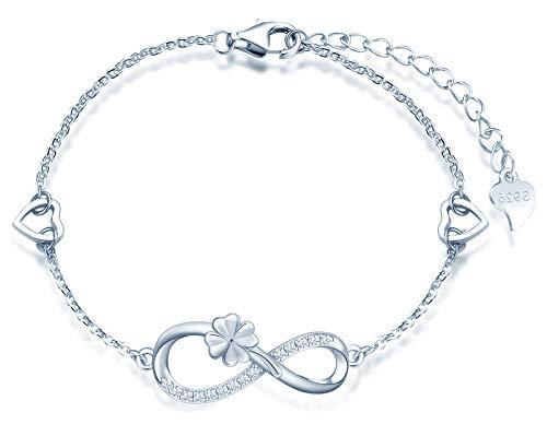 INFINIONLY Pulsera para mujer niña, pulsera de plata de ley 925, pulseras de...