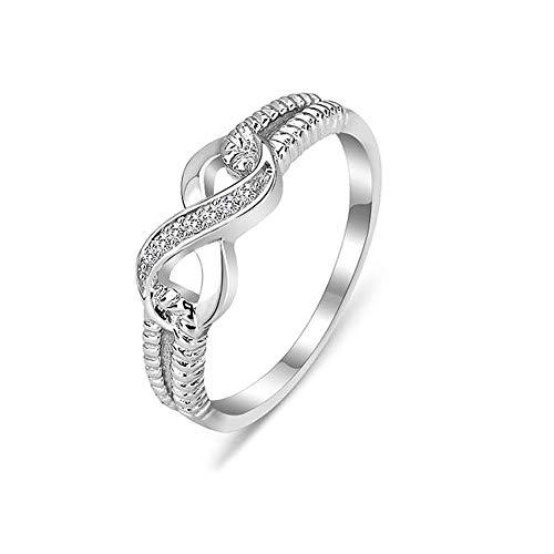 Anello da donna, in argento 925, stile vintage, per la festa della mamma, con zirconi e diamanti e Argento