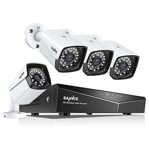 SANNCE XPOE Kit de Videovigilancia 4CH NVR sin Disco Duro + 4 IP Cámaras de Vigilancia Sistema 1080P IP66 Impermeable Visión Nocturna 100pies/30m -sin HDD