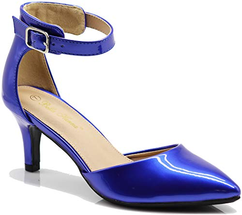 Enzo Romeo Jputa Women's Pointy Toe High Mid Heel Sexy Ankle Strap Sandals Ballerina Dress Pump Ballet Wedding Patent Harlow Pump Shoes (8, Blue pat)
