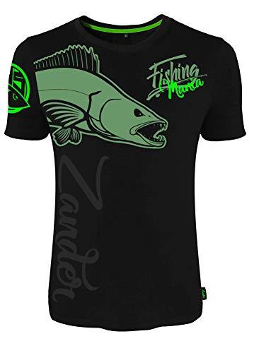 HOTSPOT DESIGN Fishing Mania Zander, L, Negro, Camiseta, para Pescadores de Spinning, 010000703