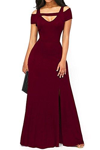 TOUVIE Damen Elegant Langes Abendkleid V-Ausschnitt Ballkleider Cocktailkleider Rot S