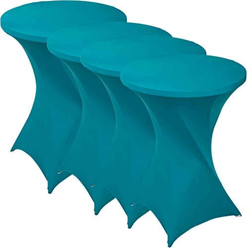 Funda elástica para mesa alta de 80-85 x 110 cm, para mesa de taburetes o mesa de bar, ideal para eventos en hoteles, restaurantes, cafeterías, cátering y bodas, varios colores, turquesa
