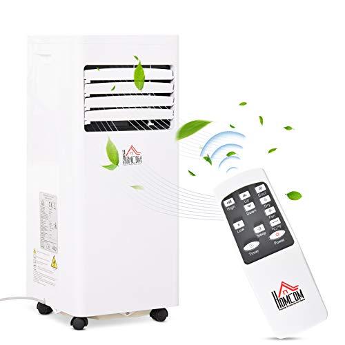 HOMCOM Mobile Klimaanlage, 1,5 kW 3-in-1 Klimagerät - Kühlen, Entfeuchtung und Ventilation – Luftentfeuchter, Ventilator, 24h Timer, mit Fernbedienung, 2 Geschwindigkeitsstufen, LED-Display, ABS, Weiß
