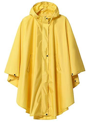 Summer Mae Regen Poncho Jacke Mantel für Erwachsene mit Kapuze wasserdicht mit Reißverschluss im Freien,Einheitsgröße,Hellgelb