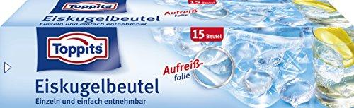 Toppits Eiswürfelbeutel für 300 Eiswürfel, 15 Beutel, Selbstverschluss, Transparent
