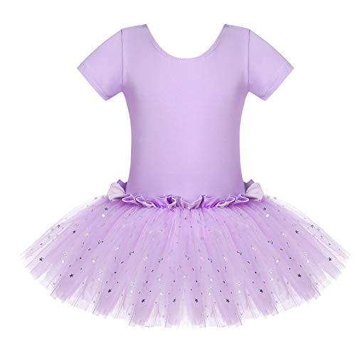 Bricnat Vestido de ballet para niña, vestido de danza, manga corta, algodón, maillot de ballet con falda tutú lila 122 128
