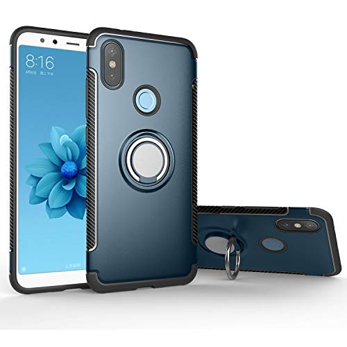 Xiaomi Mi A1 / 5X Case, Rotating Ring Mingwei [ 360 ° Kickstand] Carbon Fiber [Dual Shockproof] Protection Cover Compatible with [Magnetic Car Mount] for Xiaomi Mi A1 (Blue, Mi A1)