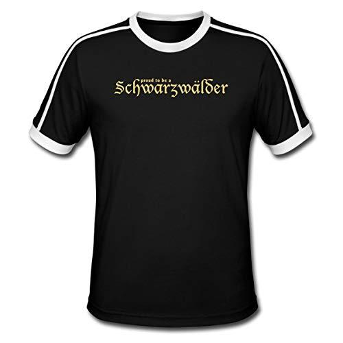 Schwarzwälder Männer Retro-T-Shirt, XL, Schwarz/Weiß