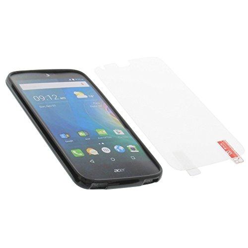 foto-kontor Tasche für Acer Liquid Z630 Liquid M630 Gummi TPU Schutz Handytasche schwarz + Schutzfolie