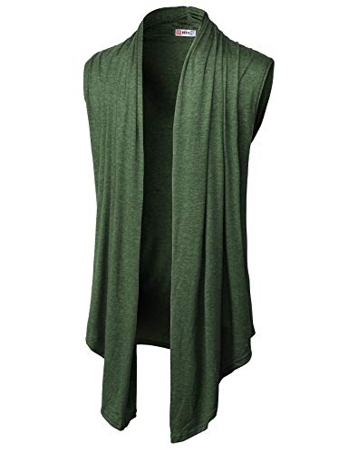 H2H Mens Casual Shawl Collar Open Front Sleeveless Long Cardigan Vest DARKOLIVE US XL/Asia 2XL (CMOCASL01)