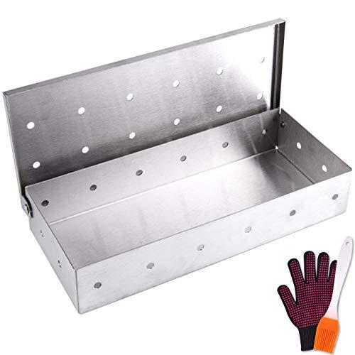 QUACOWW Grill-Rauchbox aus Edelstahl, Sägemehl, Rauchbox mit Grillbürste und Anti-Verbrühungs-Handschuhen für Zuhause/Garten/Outdoor-Grill, Grillzubehör