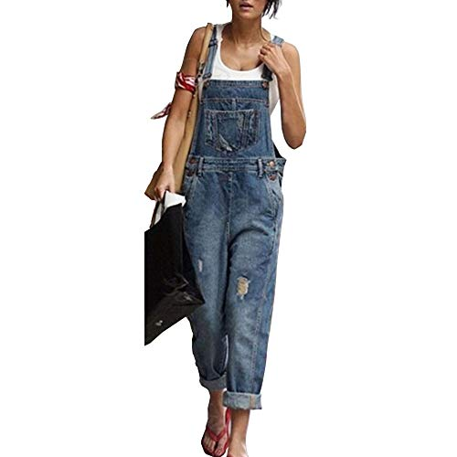 Moda Donna Jeans Strappati Salopette, Morbuy Nuovo Senza Maniche Lunga Jumpsuit Tasche Denim Pantalone Overall Monopezzi Partito Playsuit (3XL,Blu)