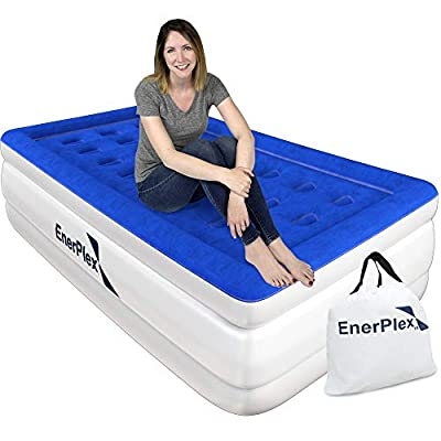 EnerPlex Premium Dual Pump Luxury Air Mattress Airbed with Built in Pump Raised Double High Blow Up Bed for Home Camping Travel 2-Year Warranty ? 16? High