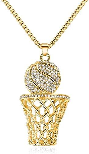 POIUIUYH Co.,ltd Collar de Moda Hip-Hop Marco de Baloncesto Hombres Collar circón Color Oro Colgante Collar de Acero Hombres Baloncesto Deportes joyería
