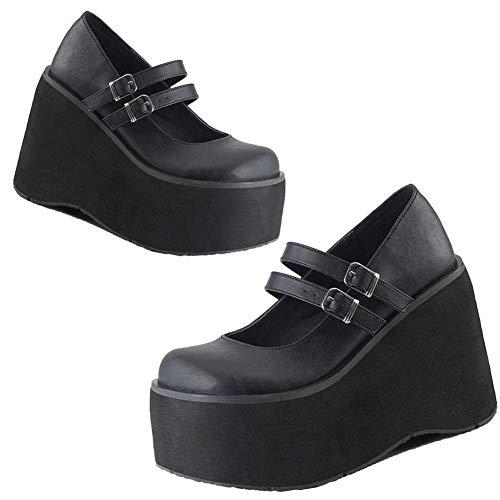 AOSPHIRAYLIAN Zapatos de plataforma Mary Janes con cuña gótica Lolita para mujer, (1black Matte), 39 EU
